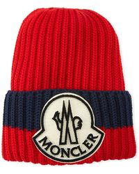 882abb1f206 Lyst - Moncler Ribbed Wool Logo Beanie Hat in Blue for Men