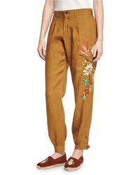 Chufy - Embroidered Linen Carpenter Pants - Lyst