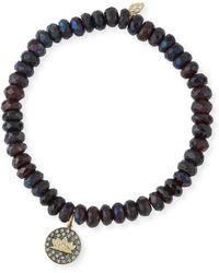 Sydney Evan - Faceted Garnet Beaded Bracelet With Diamond Lotus Charm - Lyst