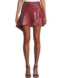 Joie - Botan Draped Ruffle Leather Mini Skirt - Lyst