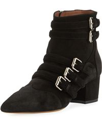 Tabitha Simmons - Christy Suede Buckle 50mm Bootie - Lyst