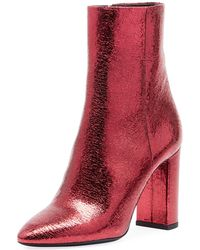 Saint Laurent - Lou Crackled Metallic Leather Mid-heel Bootie - Lyst