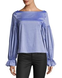 MILLY - Linda Long-sleeve Cross-dyed Italian Shirting Top - Lyst