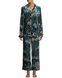 Olivia Von Halle - Lila Virginia Floral Velvet Classic Pajama Set - Lyst