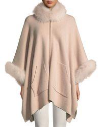 Sofia Cashmere - Double-face Cashmere Zip-front Poncho W/ Fur Trim - Lyst