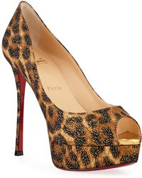 d029a69cf751 Christian Louboutin - Fetish High-heel Platform Leopard Red Sole Pumps -  Lyst
