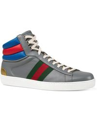 8bdc9f357e4 Lyst - Gucci Men s Leather Basketball High Top in White for Men