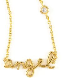 Shy By Sydney Evan - Angel Word Diamond-detail Gold-plate Necklace - Lyst