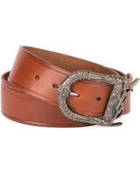 8fadd5af233ee7 Saint Laurent - Men's Leather Belt With Ornate Buckle - Lyst