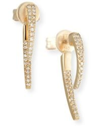 EF Collection - 14k Gold Diamond Hook Earrings - Lyst