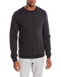 Giorgio Armani - Men's Macro Herringbone Wool-stretch Sweater - Lyst