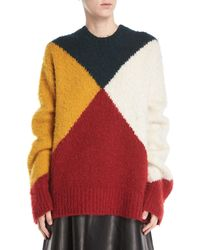 Derek Lam - Crewneck Long-sleeve Colorblock Brushed Alpaca Sweater - Lyst