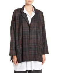 Eskandar - Wide Mandarin-collar Plaid Wool-angora Jacket - Lyst