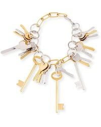 Balenciaga - Brass Key Lock Necklace - Lyst