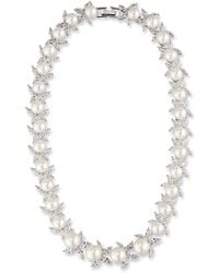 Fallon - Monarch Crystal & Pearly Bead Choker Necklace - Lyst