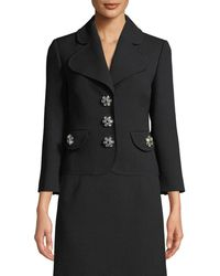 Michael Kors - Jewel-buttons Cropped Wool Crepe Broadcloth Jacket - Lyst