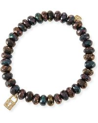 Sydney Evan - 8mm Faceted Brown Mystic Pyrite Beaded Bracelet W/14k Gold Padlock Charm - Lyst