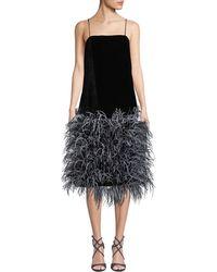 Prabal Gurung - Iliana Square-neck Velvet Ostrich-feather Skirt Dress - Lyst