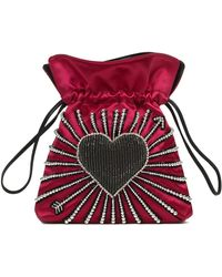 Les Petits Joueurs - Trilly Heart Cupid Satin Pouch Bag - Lyst