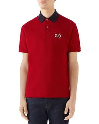ff870dbff Gucci Red Pique Metallic Button Polo in Red for Men - Lyst