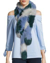 Charlotte Simone - Lacey Colorblock Fox Fur Scarf - Lyst