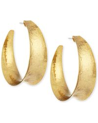 Nest - Hammered Brass Graduated Hoop Earrings - Lyst