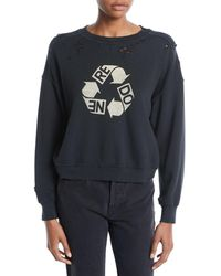 RE/DONE - Recycle Distressed Crewneck Cotton Sweatshirt - Lyst