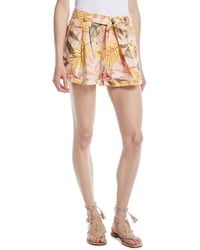 Joie - Jaklynn Leaf-print Pleated Linen Shorts - Lyst