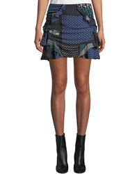 10 Crosby Derek Lam - Ruched Printed Ruffle Mini Skirt - Lyst