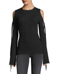 Michael Kors | Ribbed Knit Cold-shoulder Tie-sleeve Top | Lyst