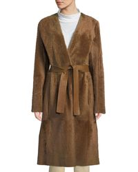 Vince - Reversible Belted Shearling Leather Coat - Lyst