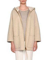 Agnona - Zip-front Mink Fur-lined Hoodie Cape - Lyst
