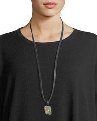 Eskandar - Prehnite Pendant On Leather Cord - Lyst