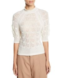 eb6eb7527634e See By Chloé - Lace Knit High-neck Short-sleeve Sweater - Lyst
