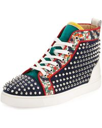 461083eec697 Christian Louboutin - Louis Orlato Studded High-top Sneaker - Lyst