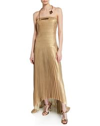 40f23109c6 Akris - Pleated Strapless Gown With Golden Necklace - Lyst