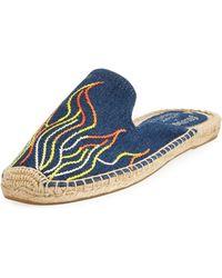 Soludos | Flame-embroidered Denim Espadrille Slide | Lyst