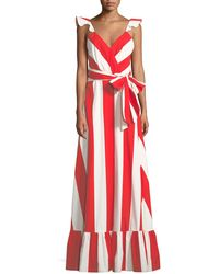 Alice + Olivia - Fernanda Flutter-straps Wide-stripe Cotton Maxi Dress - Lyst