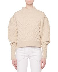 Isabel Marant - Turtleneck Irish-knit Volume-sleeve Wool Sweater - Lyst