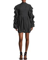 Awake | Tendrils & Head Ruched-sleeves Poplin Dress | Lyst