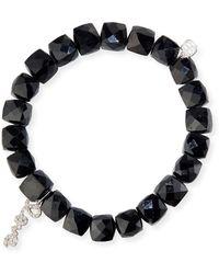 Sydney Evan - Black Spinel Beaded Bracelet With 14k White Gold/diamond Love Charm - Lyst