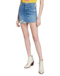 838ab67761b8 Mother - Vagabond Distressed Frayed Mini Skirt - Lyst