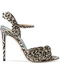 Gucci Allie Striped Leather Sandals - Black