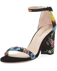 Stuart Weitzman - Nearlynude Botanic Embroidered City Sandal - Lyst