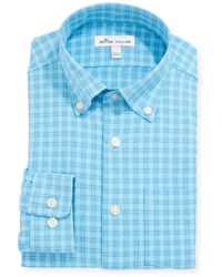 Peter Millar Boy's Woven Check Button-down Collar Shirt - Blue