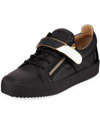 Giuseppe Zanotti - Men s Double-zip Low-top Gold-bar Sneakers - Lyst a2d7f768620a