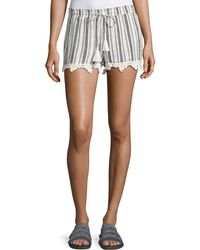 Joie - Angelle Striped Tassel Drawstring Shorts - Lyst