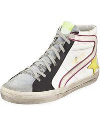 2baffbe42122 Golden Goose Deluxe Brand - Men s Slide Colorblock Leather High-top Sneakers  - Lyst
