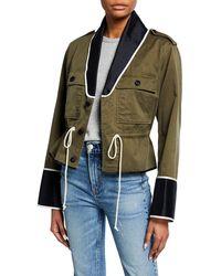 Harvey Faircloth - Shawl-collar Cropped Peplum Utility Jacket - Lyst