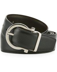 Ferragamo - Men's Stamped Leather Gancio Buckle Belt - Lyst